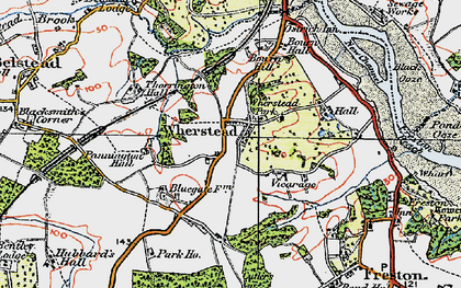 Old map of Wherstead in 1921