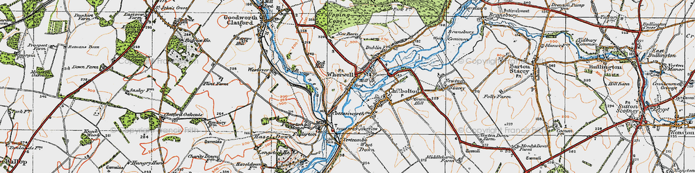 Old map of Wherwell in 1919