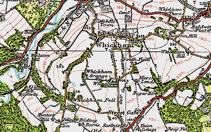 Old map of Whickham in 1925