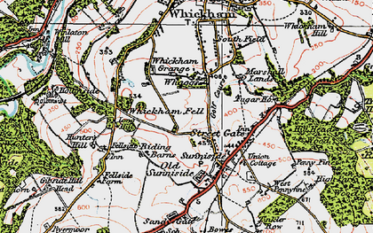 Old map of Whickham Fell in 1925