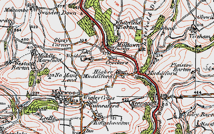 Old map of Whiddon in 1919