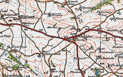 Old map of Whiddon Down in 1919