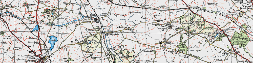 Old map of Whilton in 1919
