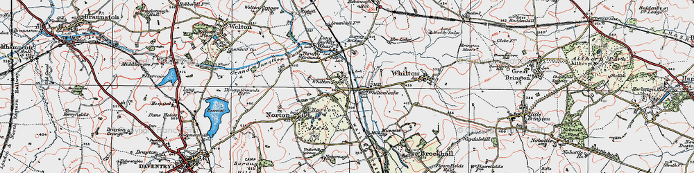 Old map of Whilton Lodge in 1919