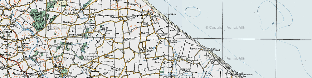 Old map of Whimpwell Green in 1922
