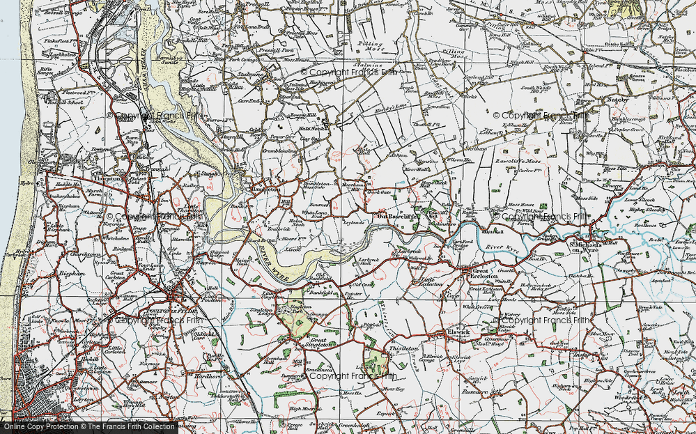 Old Map of Historic Map covering Leylands in 1924