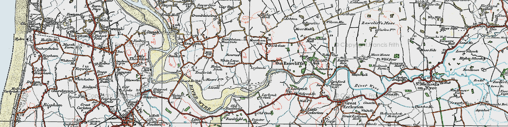 Old map of Whin Lane End in 1924