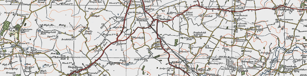 Old map of Whinburgh in 1921