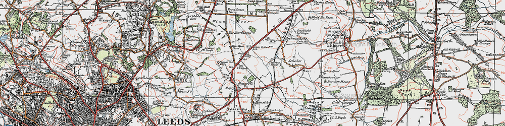 Old map of Whinmoor in 1925