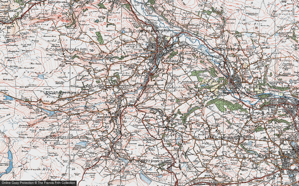 Old Map of Historic Map covering Lees Moor in 1925