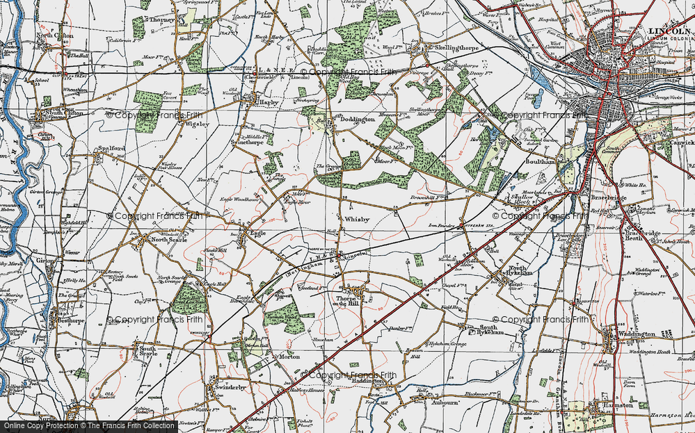Old Map of Whisby, 1923 in 1923