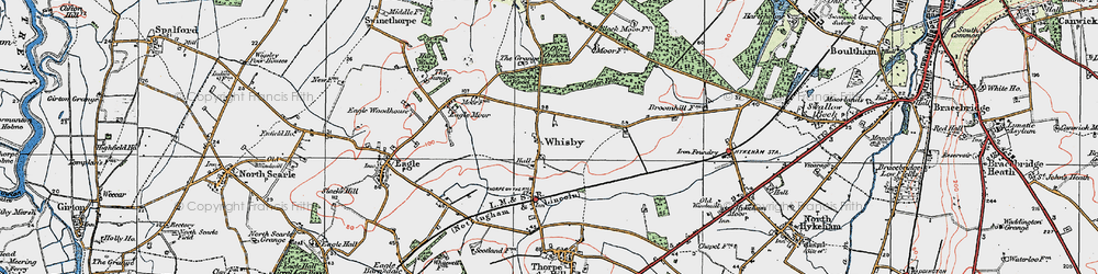 Old map of Whisby in 1923