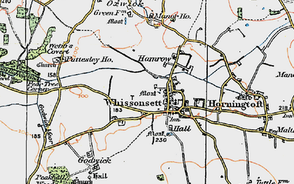 Old map of Whissonsett in 1921