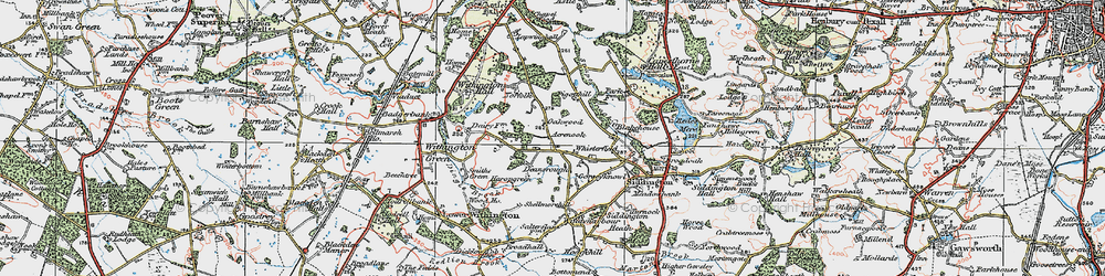 Old map of Whisterfield in 1923