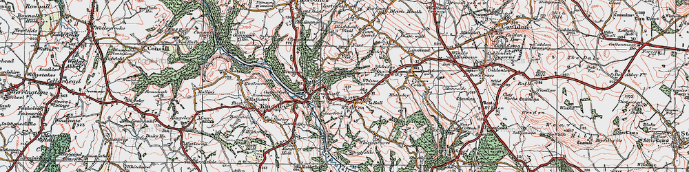 Old map of Whiston in 1921