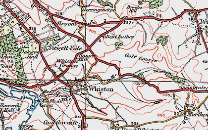 Old map of Whiston in 1923