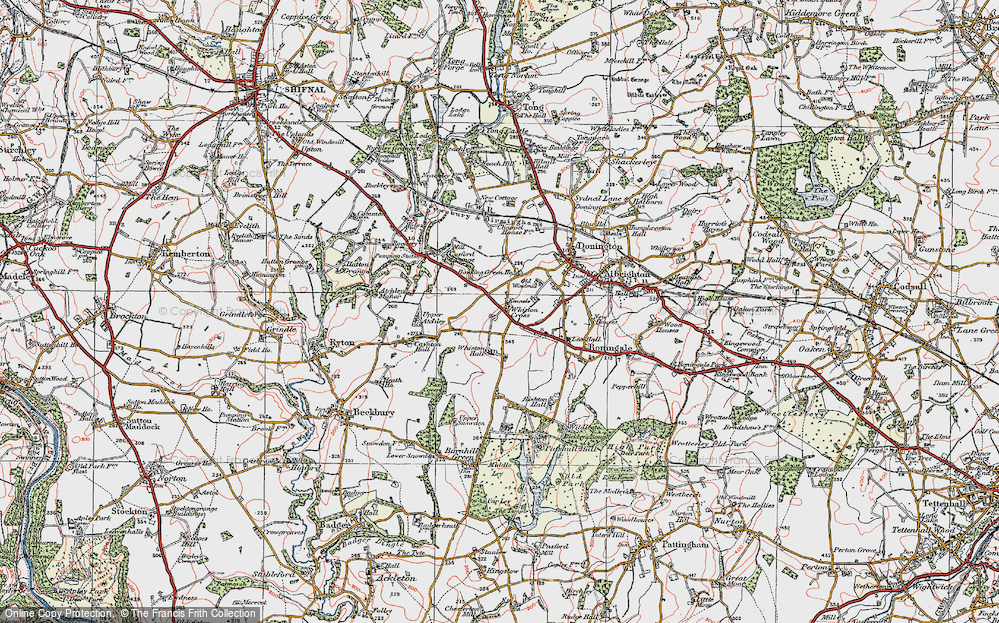 Old Map of Historic Map covering Whiston Hall in 1921