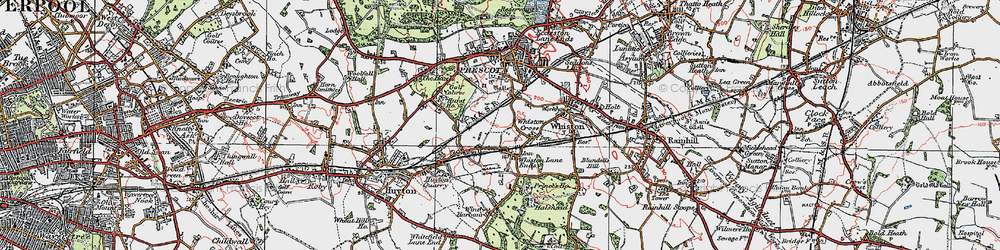 Old map of Whiston Cross in 1923