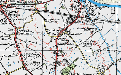 Old map of Whitby in 1924