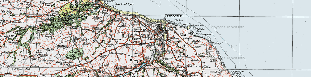 Old map of Whitby in 1925