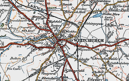 Old map of Whitchurch in 1921