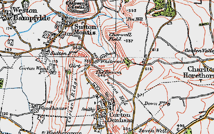 Old map of Whitcombe in 1919