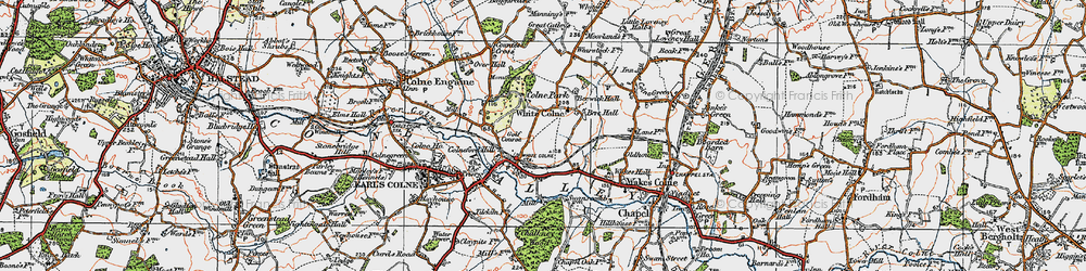 Old map of White Colne in 1921