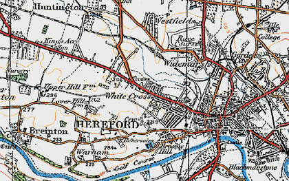 Old map of White Cross in 1920
