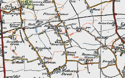 Old map of White Horse Corner in 1921