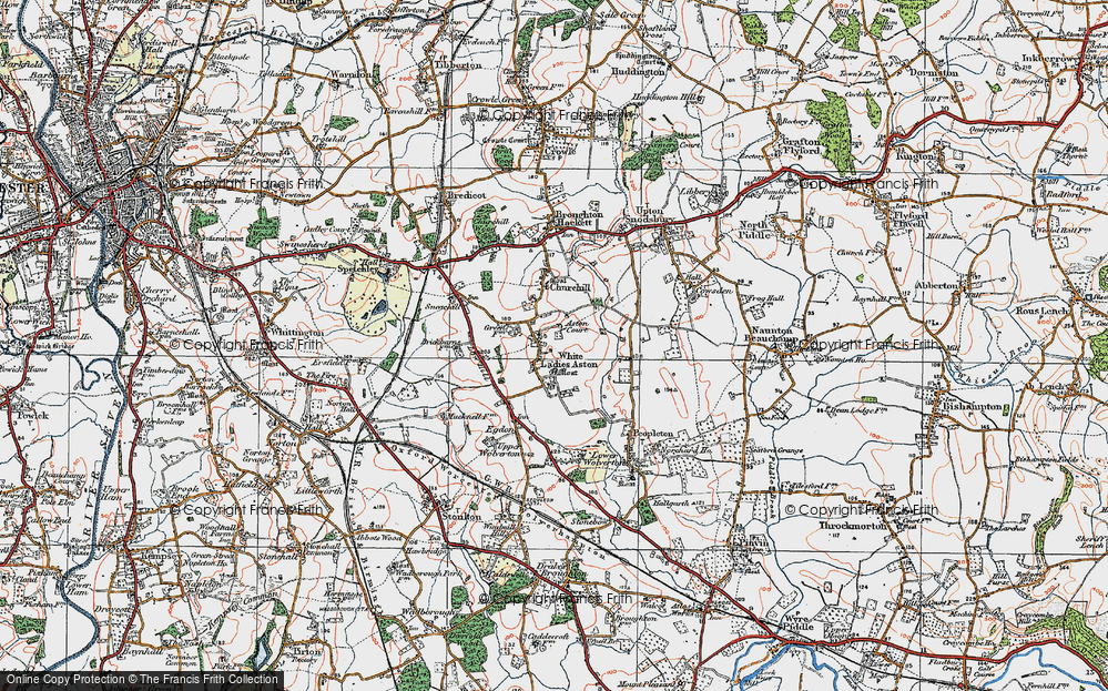 Old Map of White Ladies Aston, 1919 in 1919