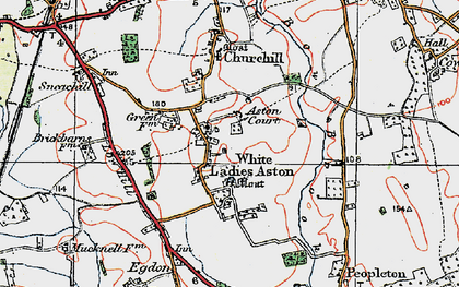 Old map of White Ladies Aston in 1919