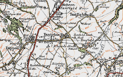Old map of White-le-Head in 1925