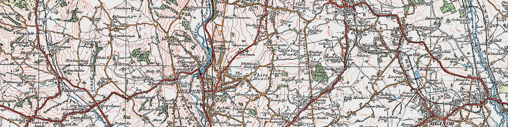 Old map of White Moor in 1921