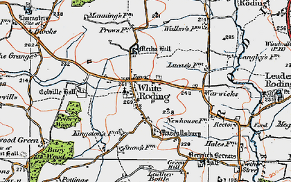 Old map of White Roding in 1919