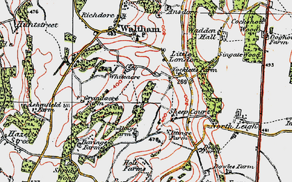Old map of Whiteacre in 1920