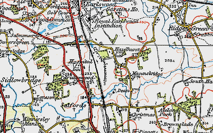Old map of Whitebushes in 1920