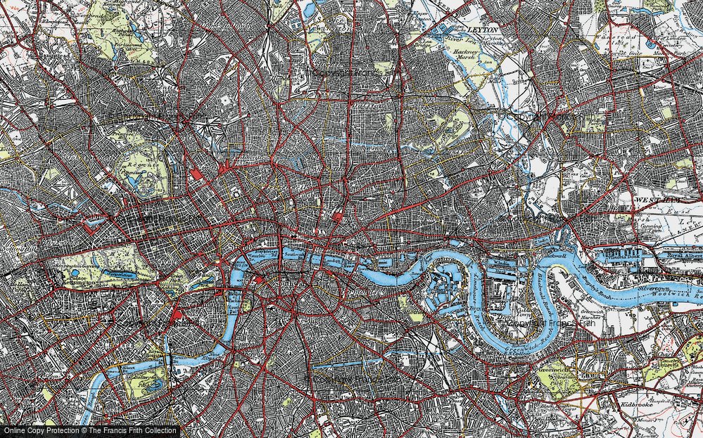 Old Map of Whitechapel, 1920 in 1920