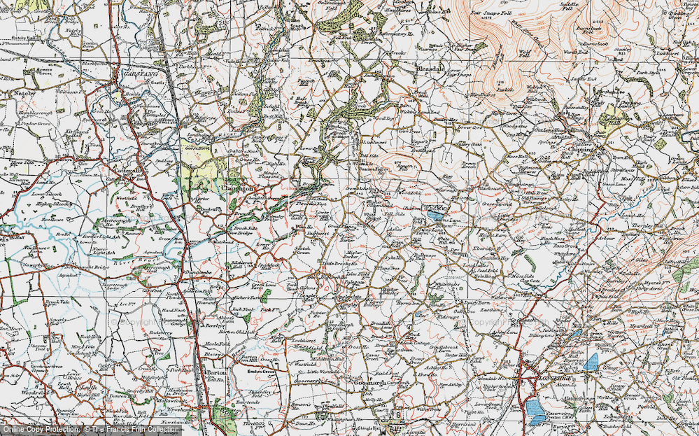 Old Map of Historic Map covering Wood Fold in 1924