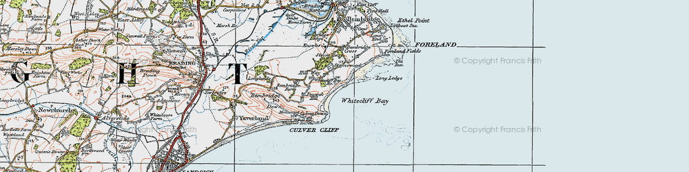 Old map of Whitecliff Bay in 1919