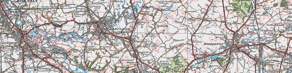Old map of Whitefield in 1924