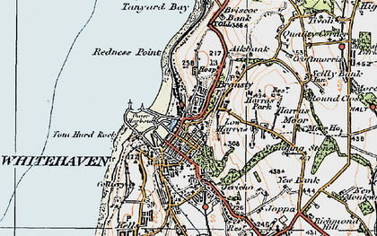 Old map of Whitehaven in 1925