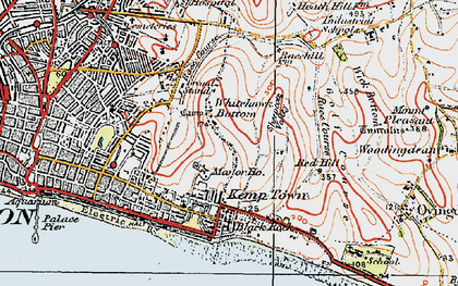 Old map of Whitehawk Camp in 1920