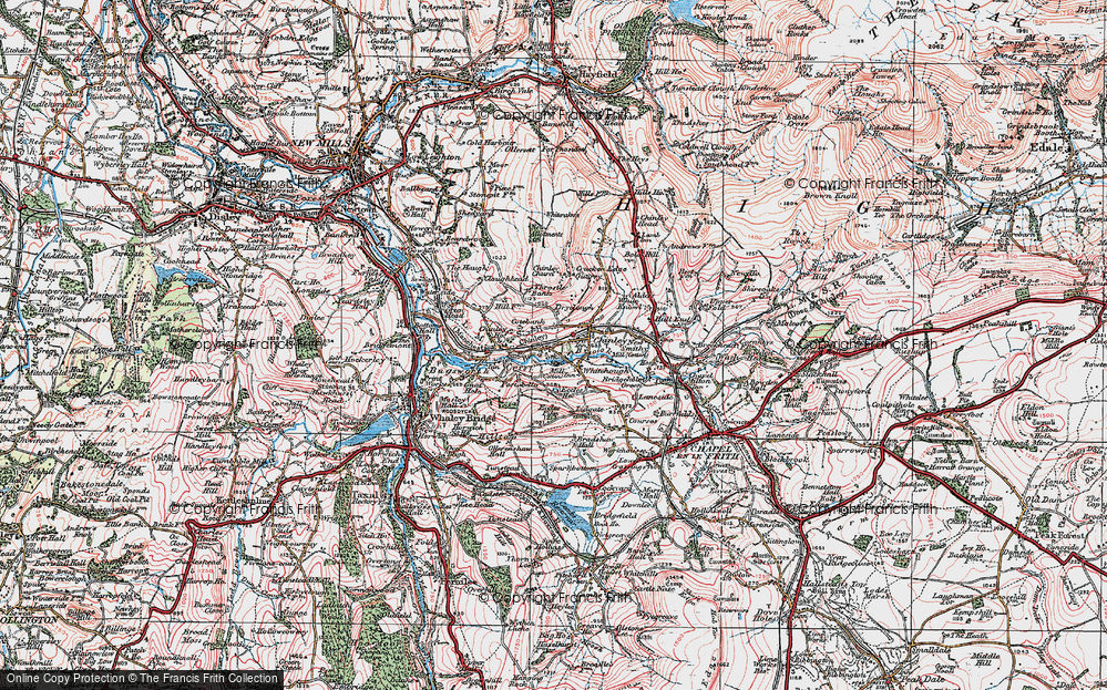Old Map of Whitehough, 1923 in 1923