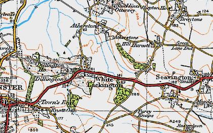 Old map of Whitelackington in 1919
