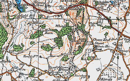 Old map of Whiteleaved Oak in 1920