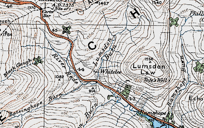 Old map of Carter Bar in 1926