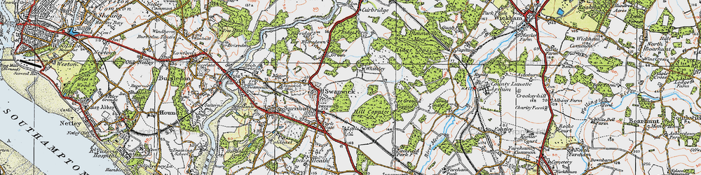 Old map of Whiteley in 1919