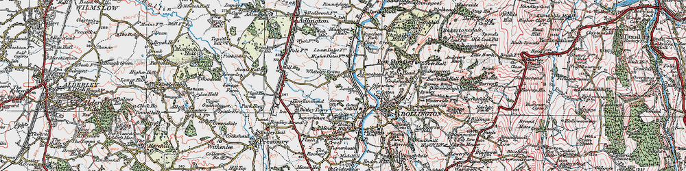 Old map of Whiteley Green in 1923