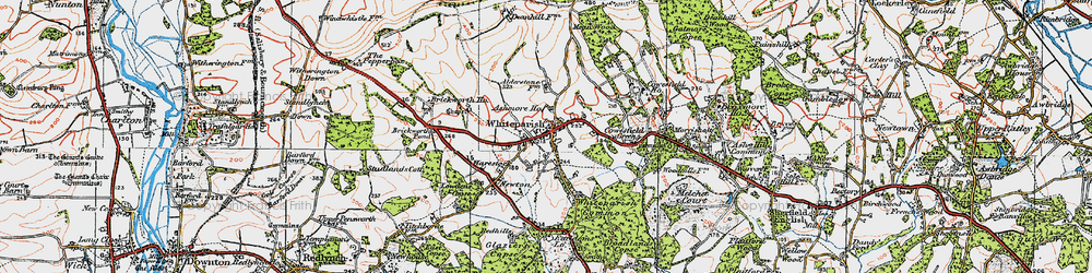 Old map of Whiteparish in 1919