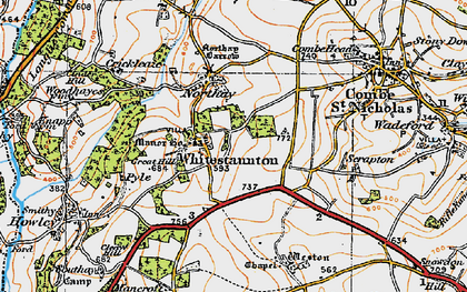 Old map of Whitestaunton in 1919